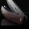 Close Up Folded Boker Plus Exskelibur 1 Damascus Cocobolo