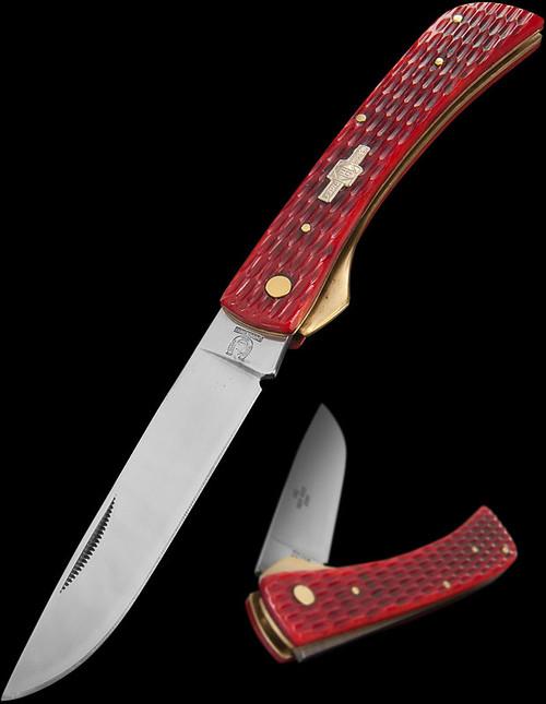 Rough Rider Work Knife Red Jigged Bone