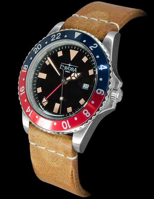 Davosa Vintage Diver Quartz Blue/Red