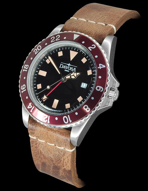 Davosa Vintage Diver Quartz Burgundy
