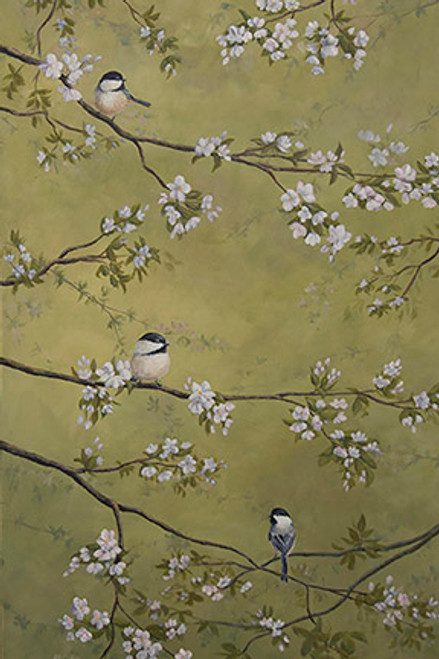 Chickadees and Apple Blossoms