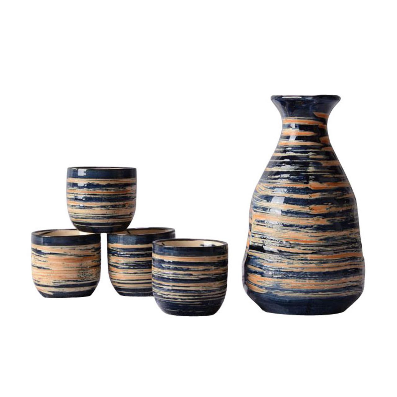 Japanese sake set in black glaze design