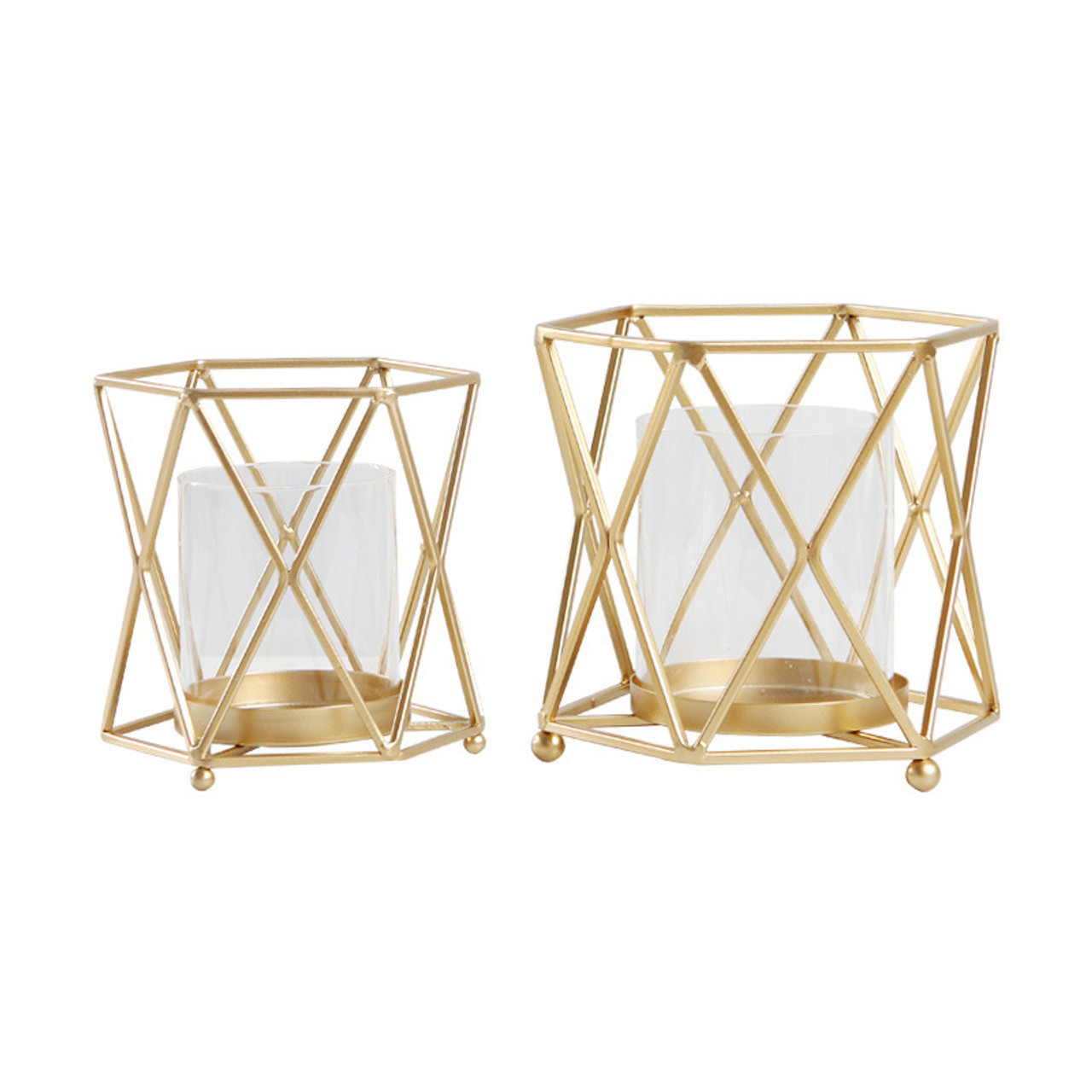 Geometric Candle Holder Gold Windproof Metal Candle Lantern With Glass Cylinder Scandinavian Coffee Table Wedding Centerpieces