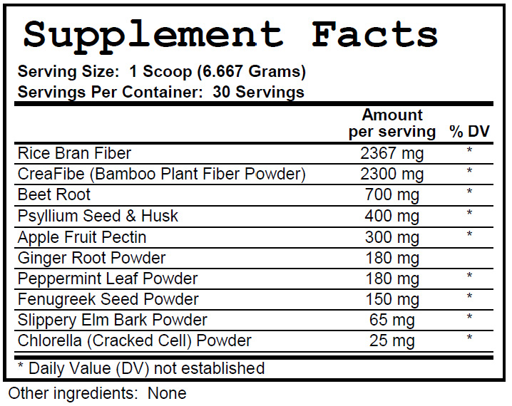 Fiber Powder - Supplement Facts