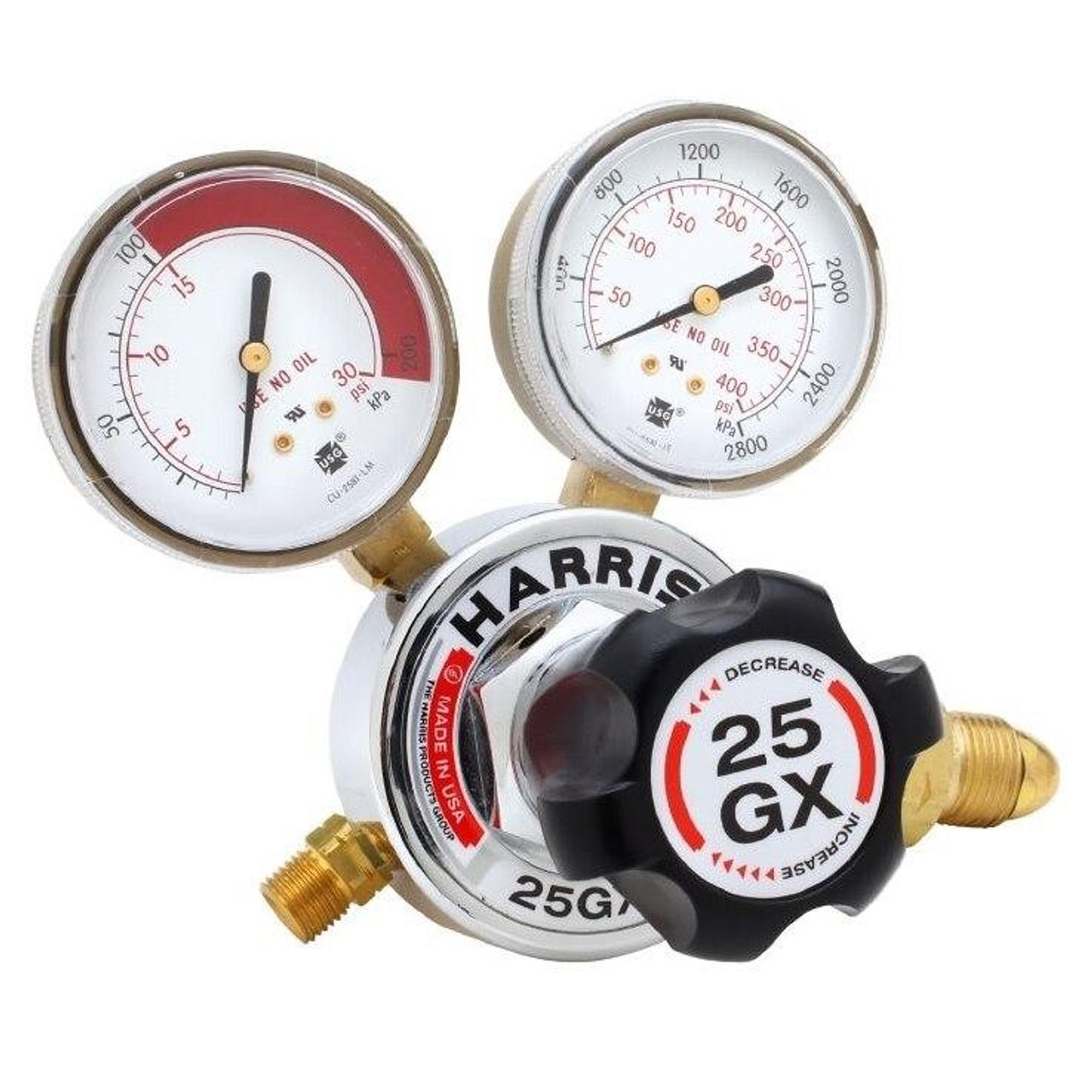 Harris Model 25GX Single Stage Acetylene Regulator CGA 510 Male 25GX-15-510 - 3000380