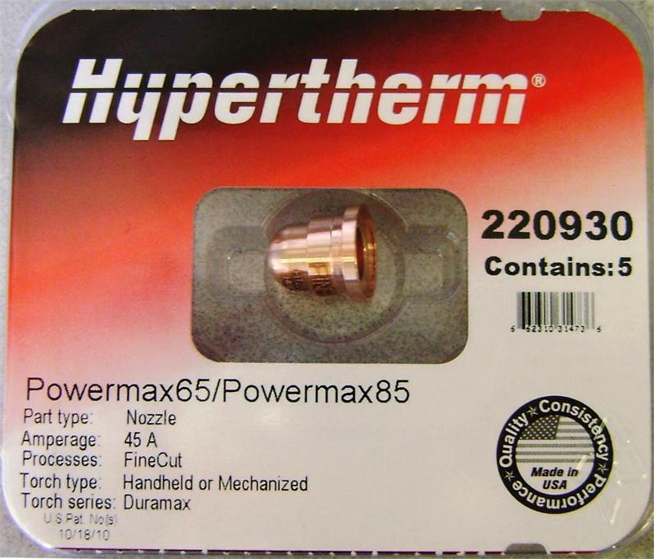 Hypertherm 220930 Powermax 85 Fine Cut Nozzles - 5 Pack
