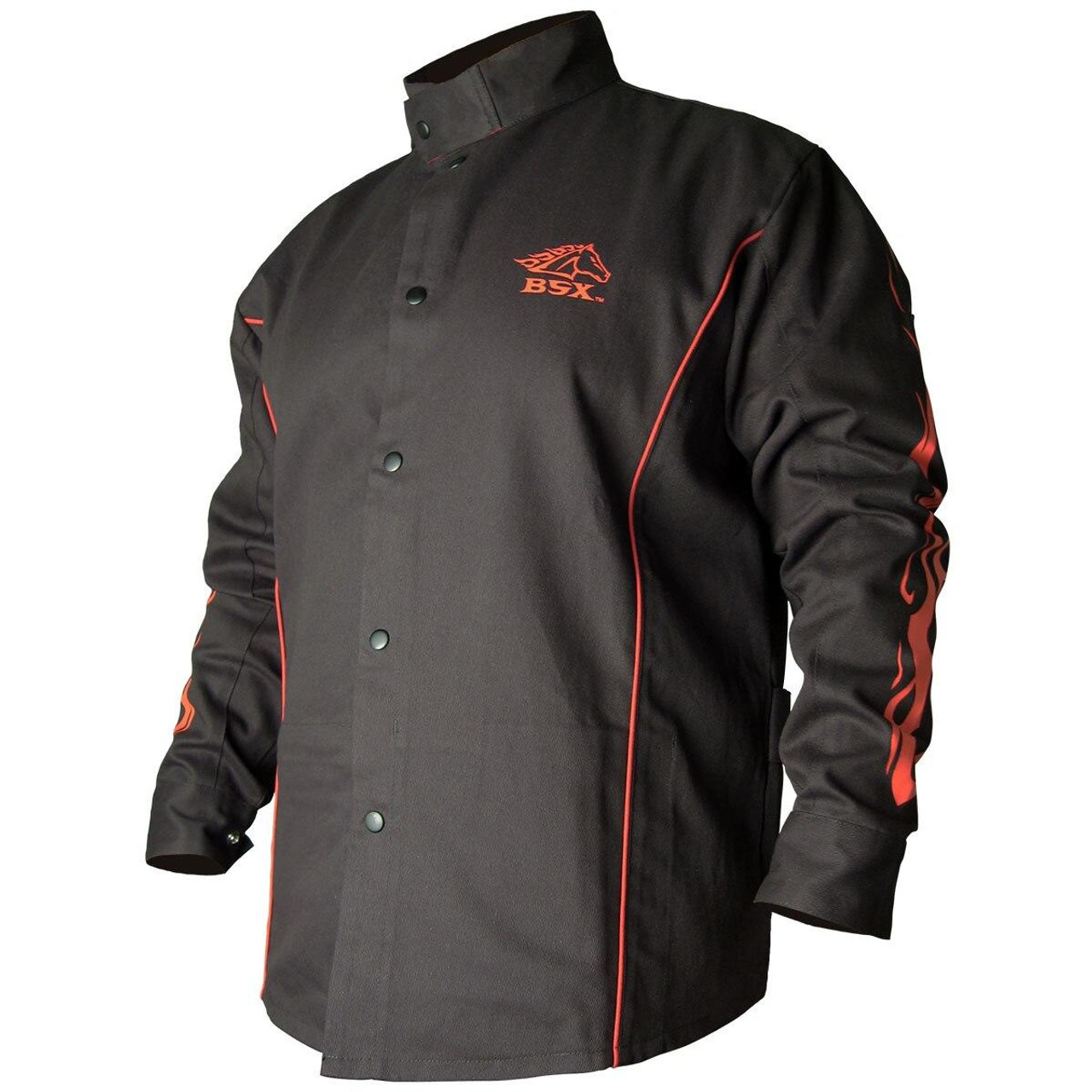 Black Stallion BSX Contoured FR Cotton Welding Jacket, Black with Red Flames