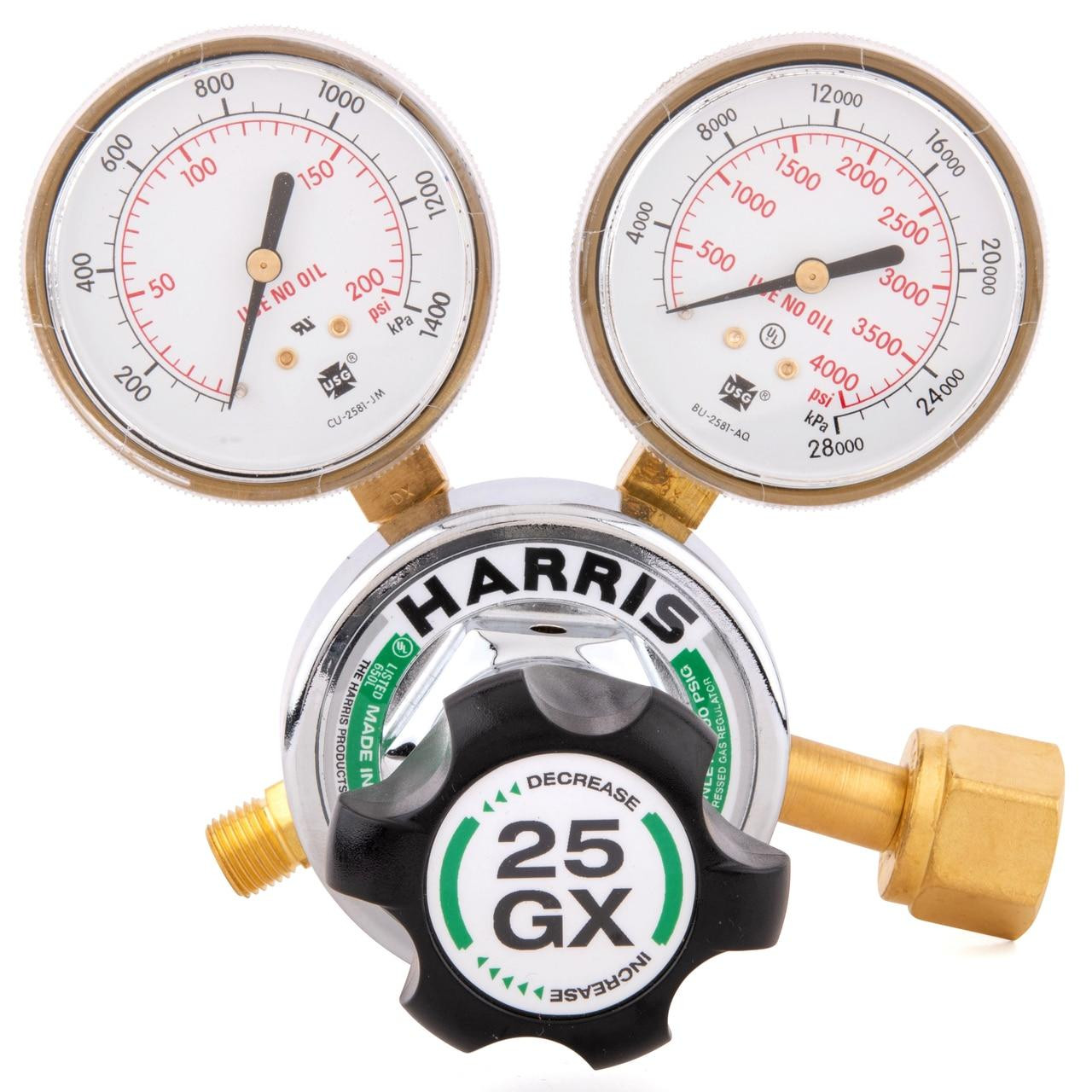 Harris Model 25GX Single Stage Oxygen Regulator 25GX-145-540 - 3000510