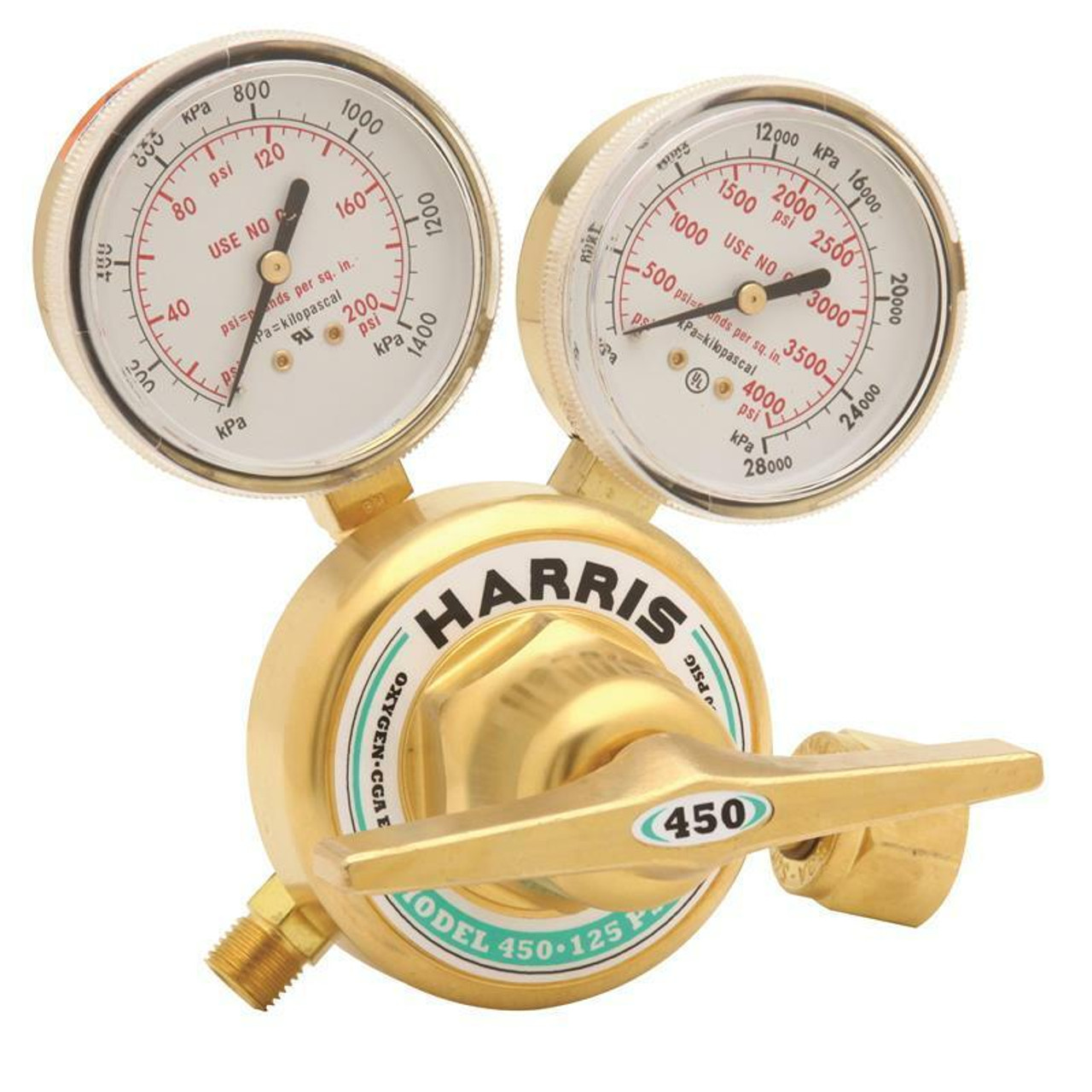 Harris Model 450-200-540 Oxygen Single Stage Stainless Steel Diaphragm Regulator - 3002499