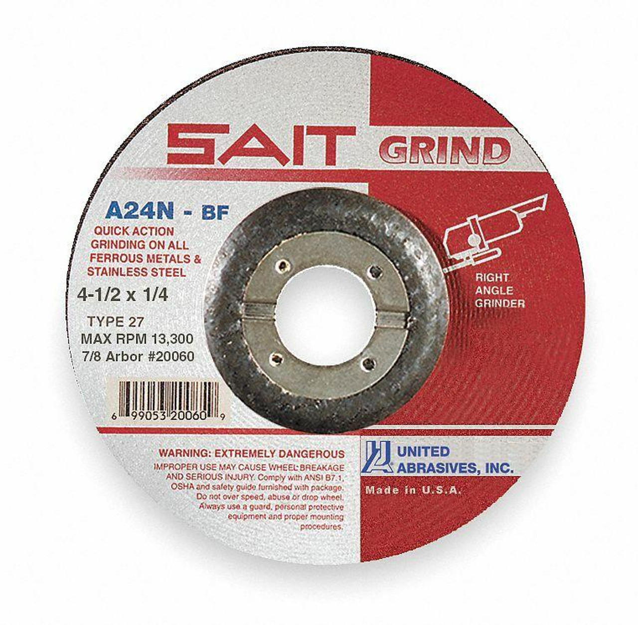 United Abrasives Sait 20060 4.5 x 1/4 x 7/8 Type 27 A24N Depressed Center Grinding Wheel - Box of 25
