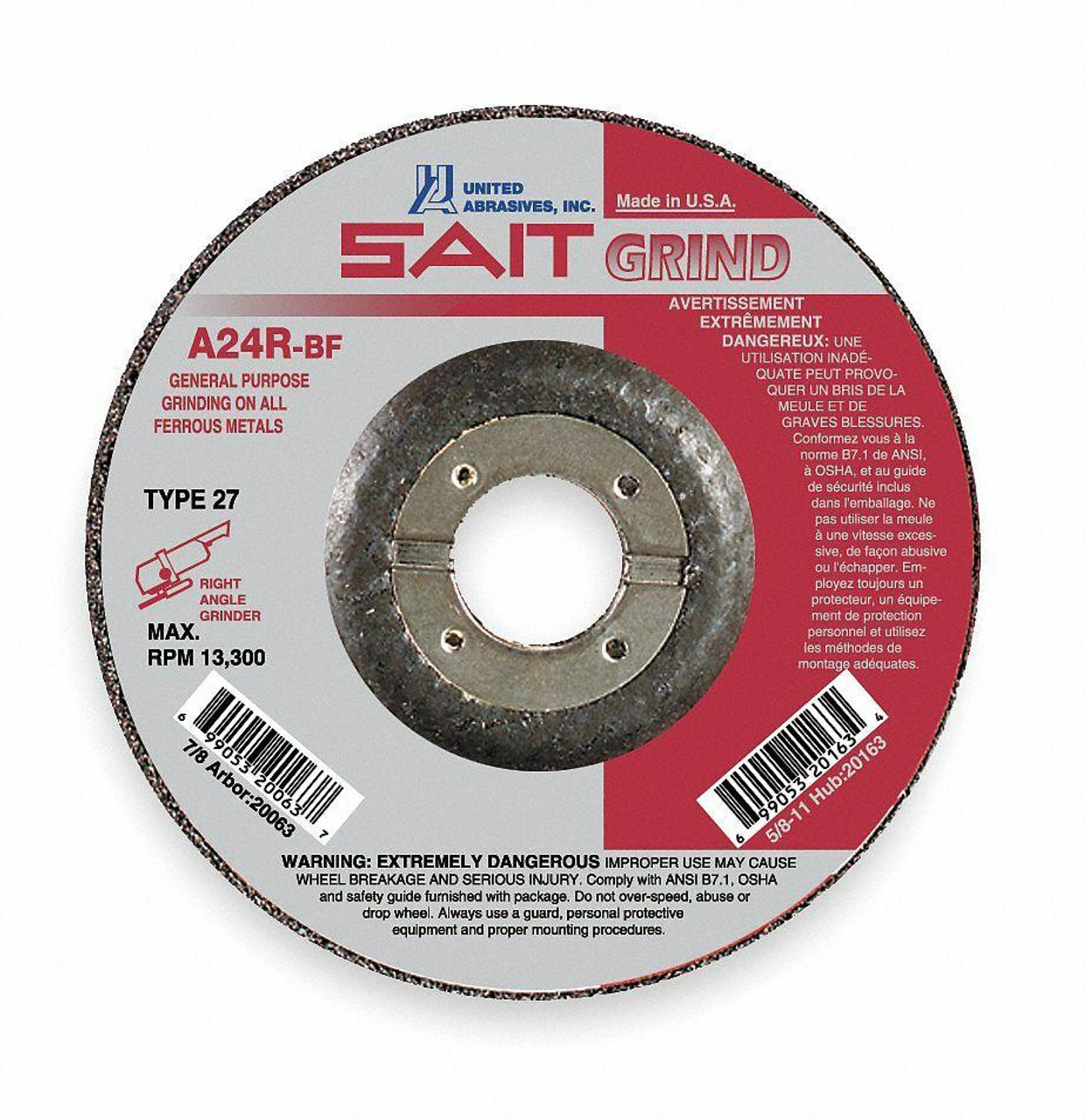 United Abrasives Sait 20063 4.5 x 1/4 x 7/8 Type 27 A24R Depressed Center Grinding Wheel - Box of 25