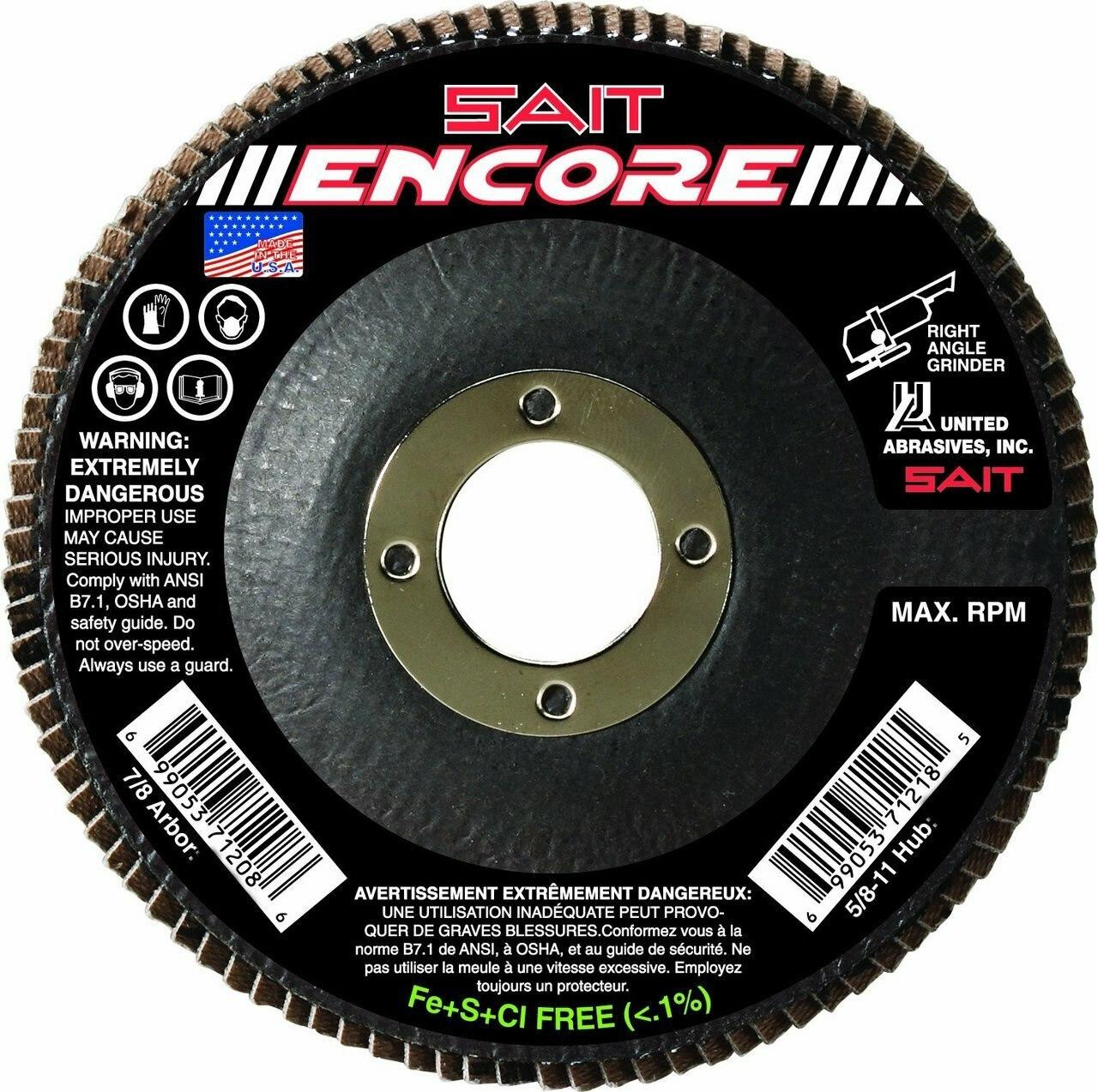 United Abrasives Sait 71211 4-1/2 x 7/8 Type 27 120-Grit Flap Disc - Box of 10