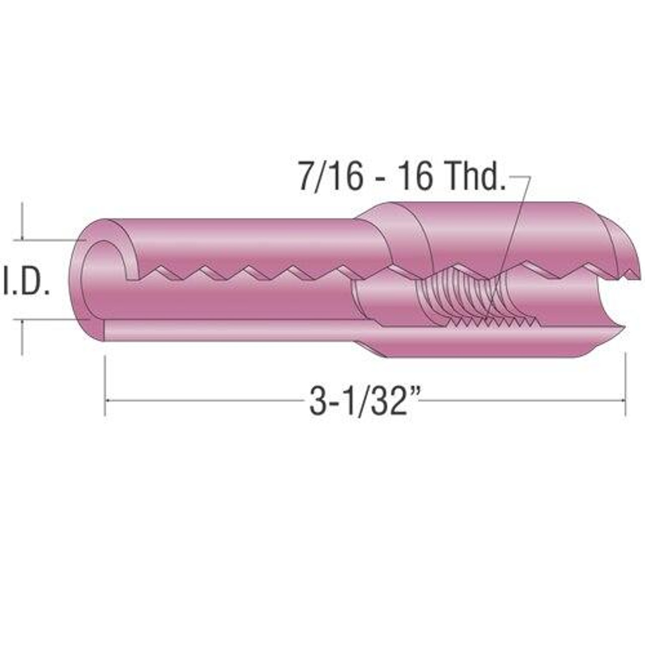 Profax 10N47 Alumina Cup 7/16 ID for 17-18-26 Series TIG Torch - 10 Pack