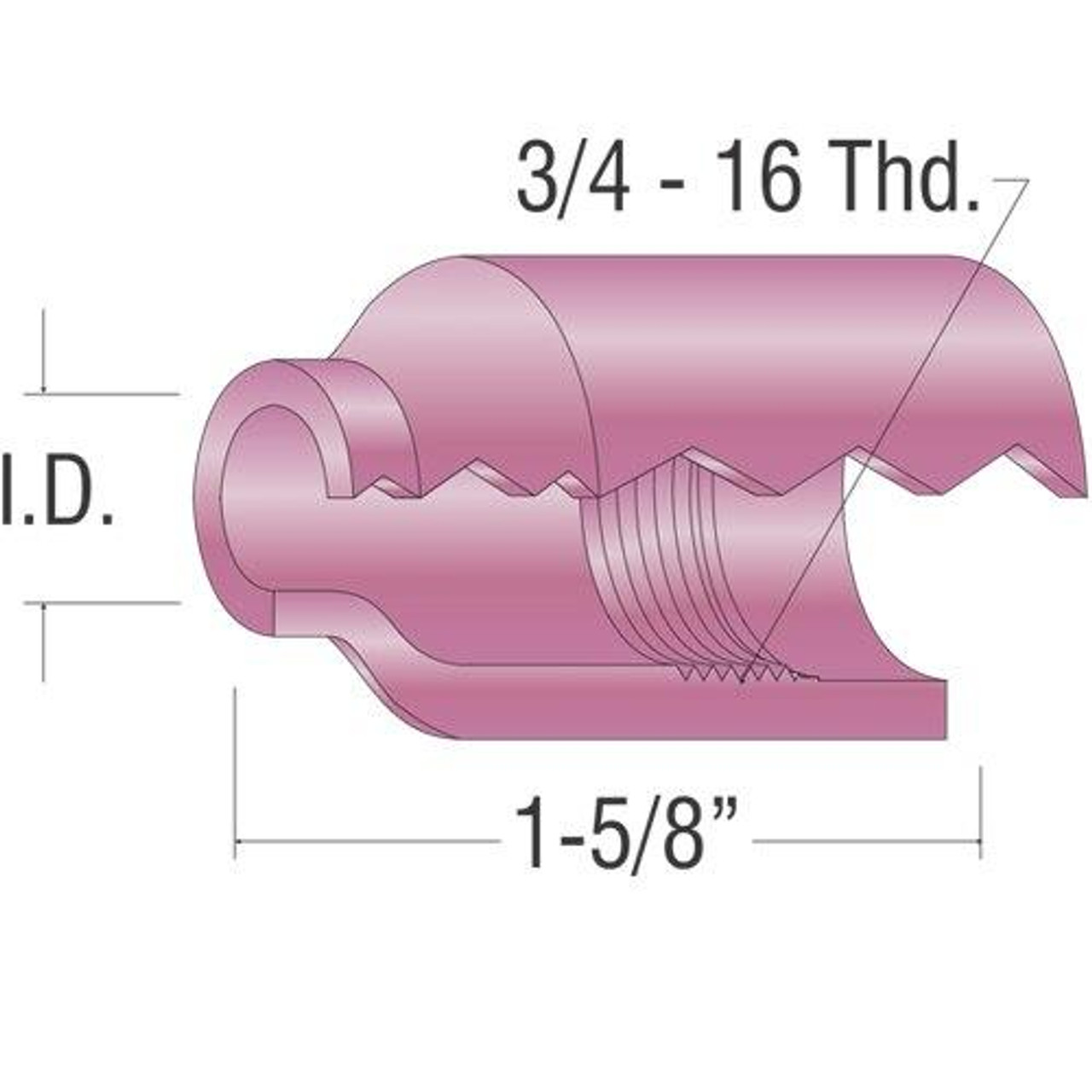 Profax 54N14 Alumina Cup 1/2 17-18-26 Series TIG Torch - 10 Pack