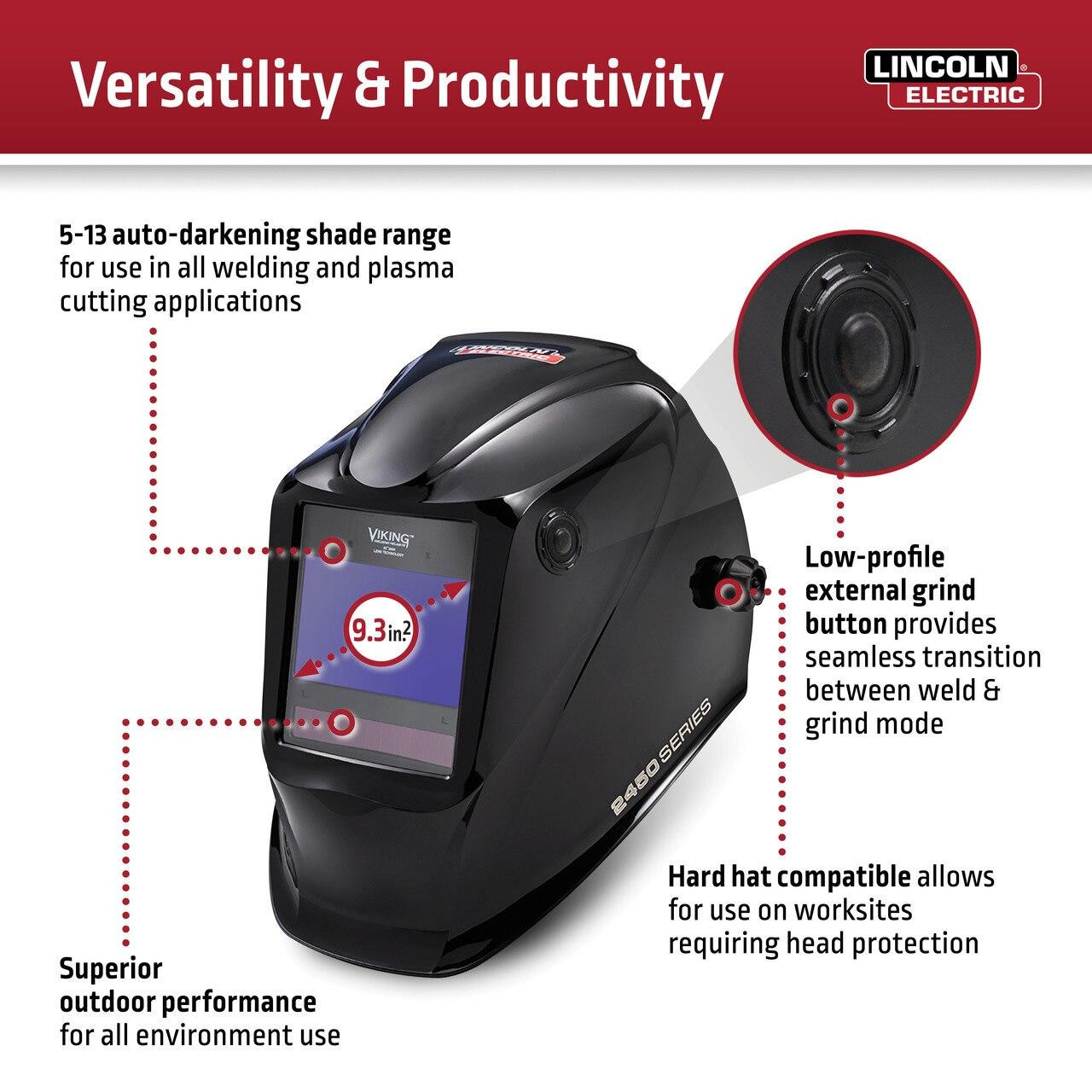 Lincoln Viking 2450 Heavy Metal Welding Helmet K3029-4