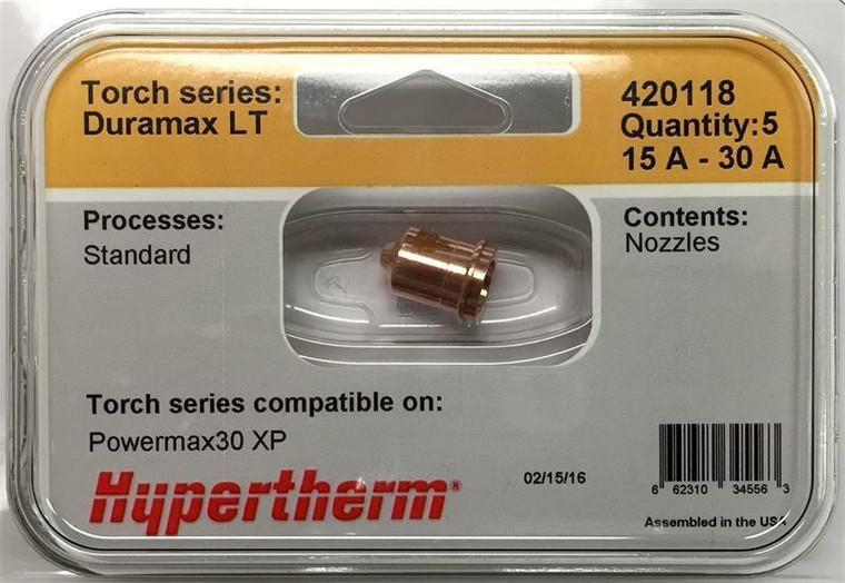 Hypertherm 420118 Powermax 30 XP Nozzles - 5 Pack