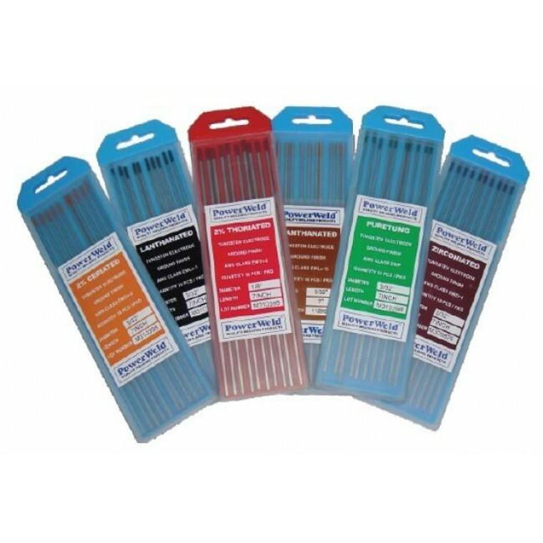 Powerweld Pure Unalloyed Ground Tungsten Electrodes 1/8 x 7 10 Pack