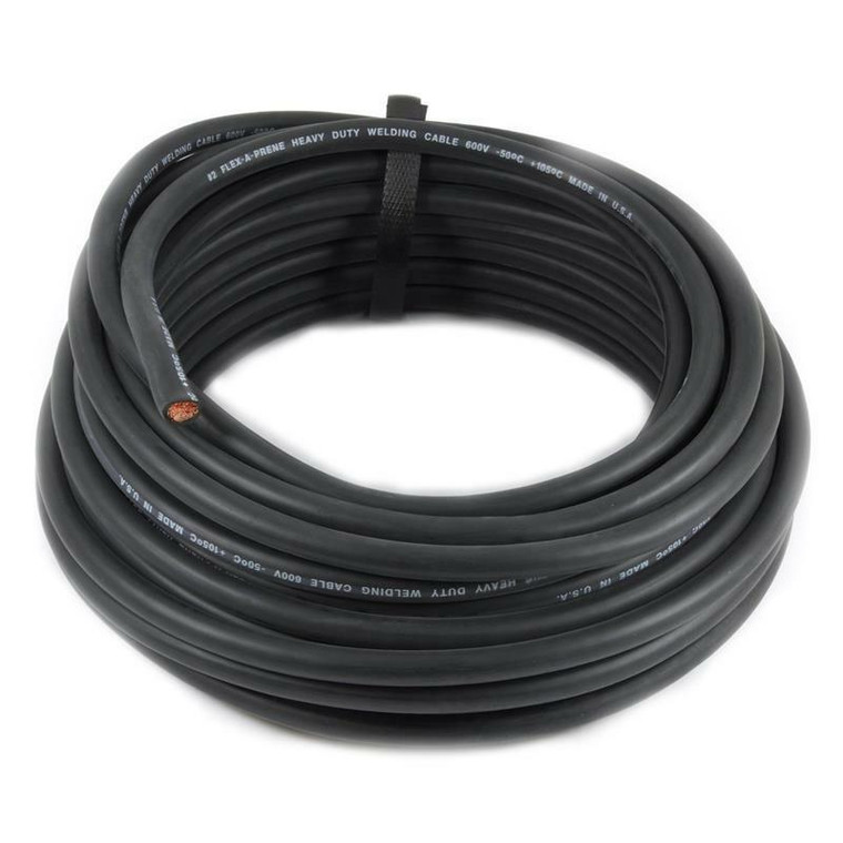 100 Foot of Black 2/0 Flex-A-Prene Welding and Battery Cable Made In USA