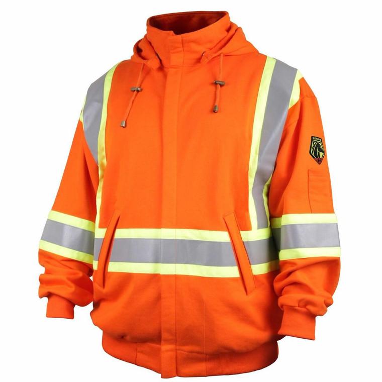 Revco Black Stallion TruGuard 200 FR Cotton Hooded Sweatshirt Orange with Reflective Safety Stripes