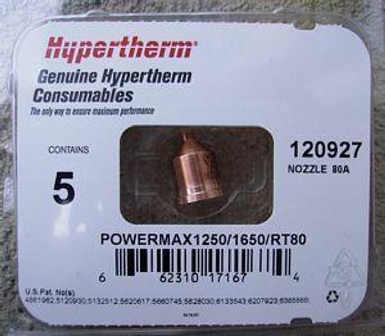 Hypertherm 120927 Powermax 1250 80 Amp Shielded Nozzles - 5 Pack