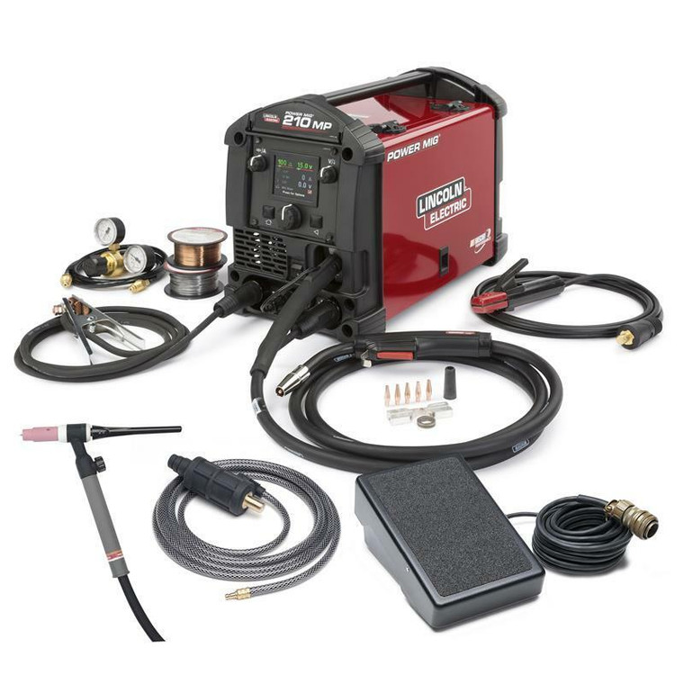 Lincoln Power MIG 210 MP Multi-Process MIG and Stick Welder TIG One-Pak K4195-2
