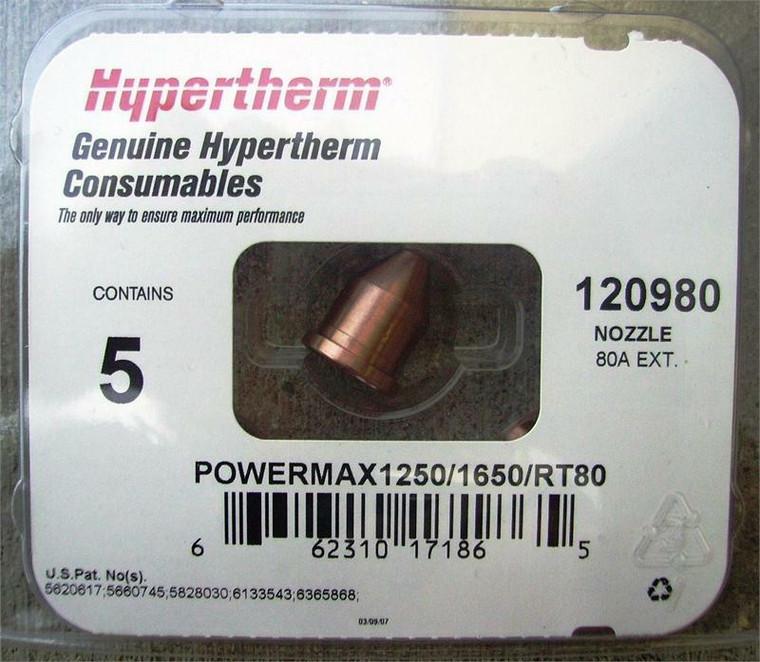 Hypertherm 120980 Powermax 1250 80 Amp Nozzles - 5 Pack