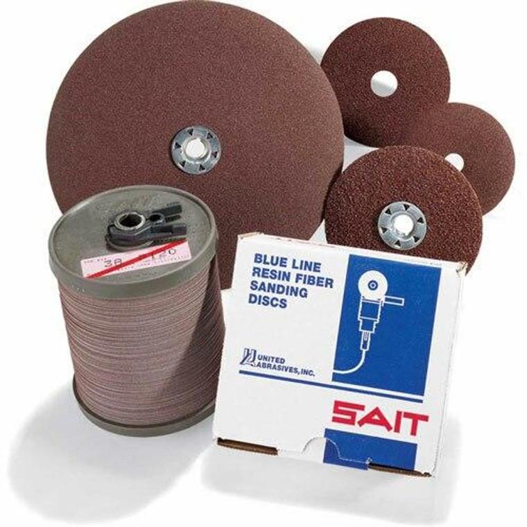 United Abrasives Sait 51036 2A Aluminum Oxide 4 1/2 x 7/8 36 Grit Abrasive Discs - 100 Pack