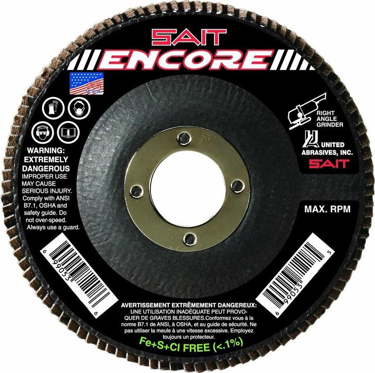 United Abrasives Sait 71205 4-1/2 x 7/8 Type 27 36-Grit Flap Disc - Box of 10