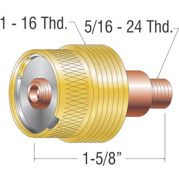 Profax 45V116S XL Stubby Gas Lens 1/16 9-20-25 Series TIG Torch