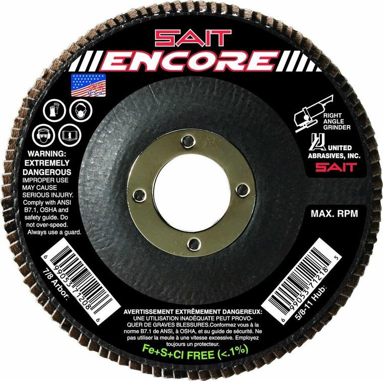 United Abrasives Sait 71206 4-1/2 x 7/8 Type 27 40-Grit Flap Disc - Box of 10