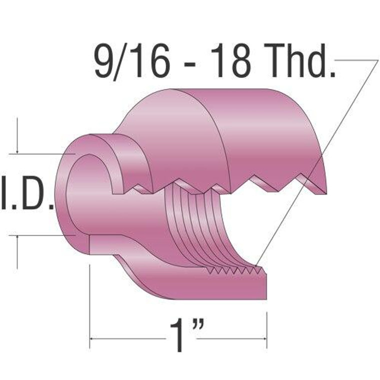 Profax 53N61 Alumina Cup 7/16 9-20-24-25 Series TIG Torch - 10 Pack