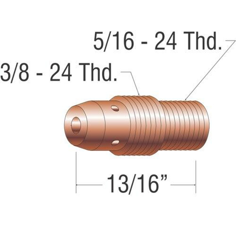 Profax 13N27 Collett Body 1/16 9-20-25 Series TIG Torch - 10 Pack