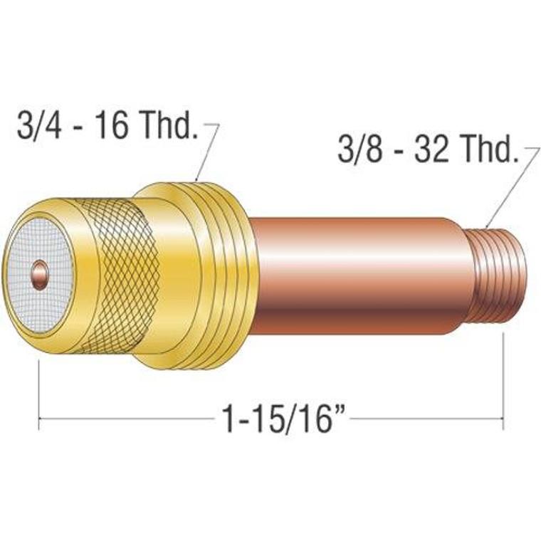 Profax 45V25 Gas Lens 1/16 17-18-26 Series TIG Torch - 2 Pack