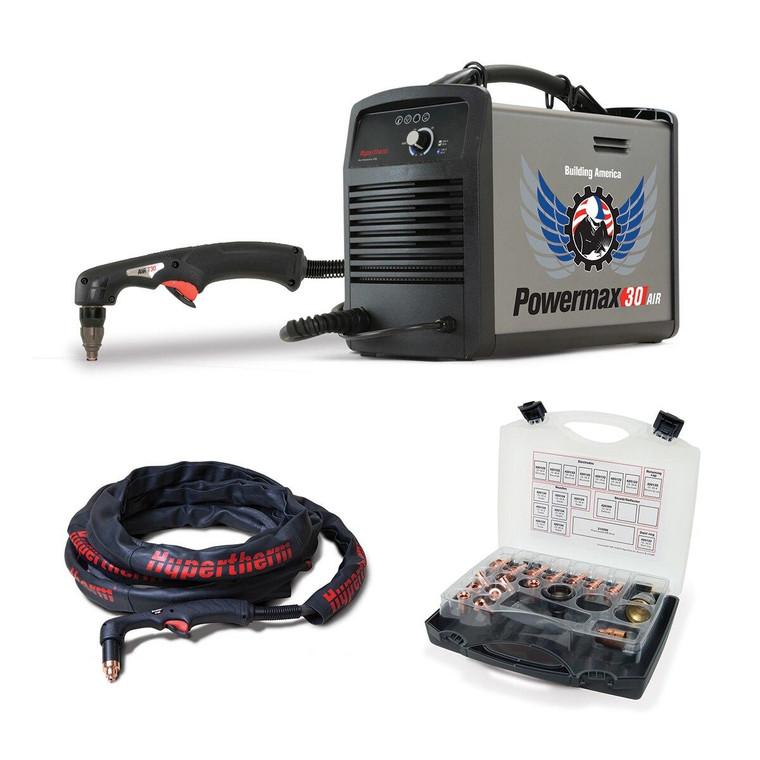 Hypertherm Powermax 30 Air Plasma Cutter 088096 w/ Built-In Air Compressor w/ Kit and Torch Sheath