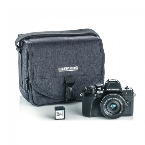 OLYMPUS E-M10 MARK III CAMERA 14-42 EZ LENS KIT, BLACK W/ CAMERA BAG, SD CARD