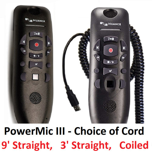 Nuance PowerMic III Microphone Image - Microphone Upright - choice of cord