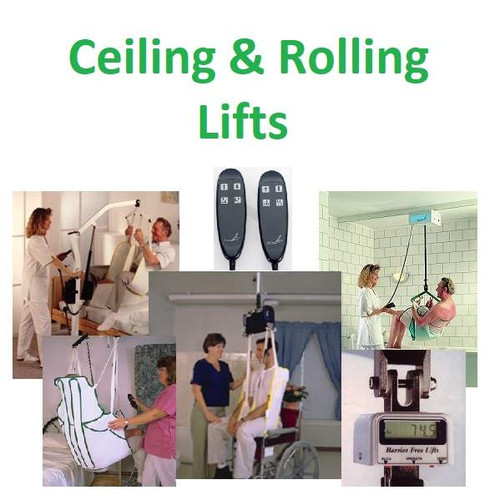 Ceiling & Rolling Lifts and Accessories (slings, scales, hand controls, parts, etc.)