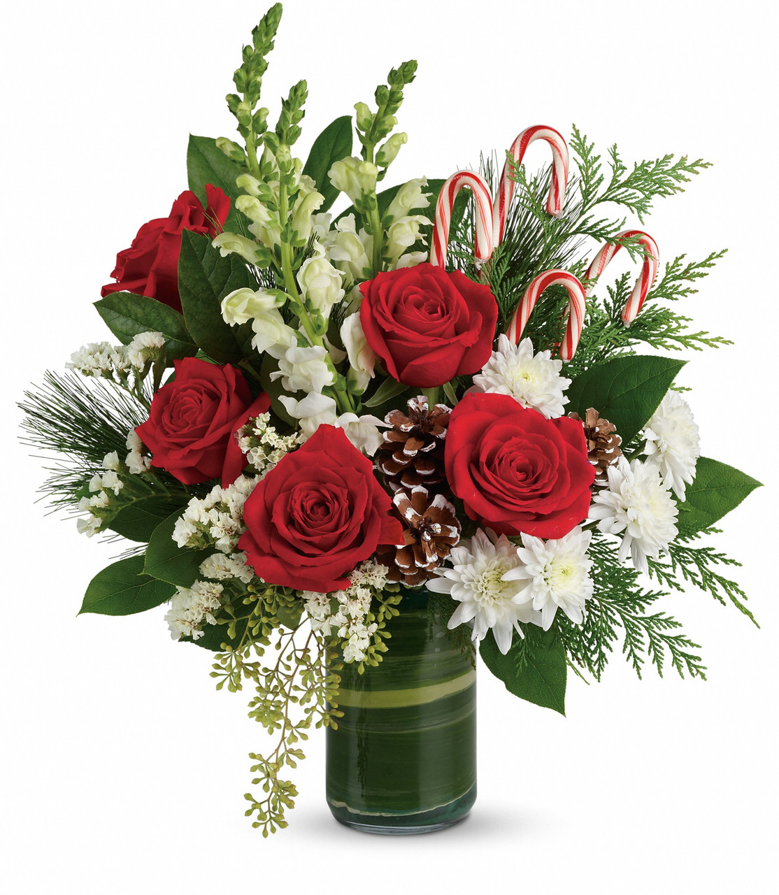 Red And White Christmas Bouquet Festive Candy Canes