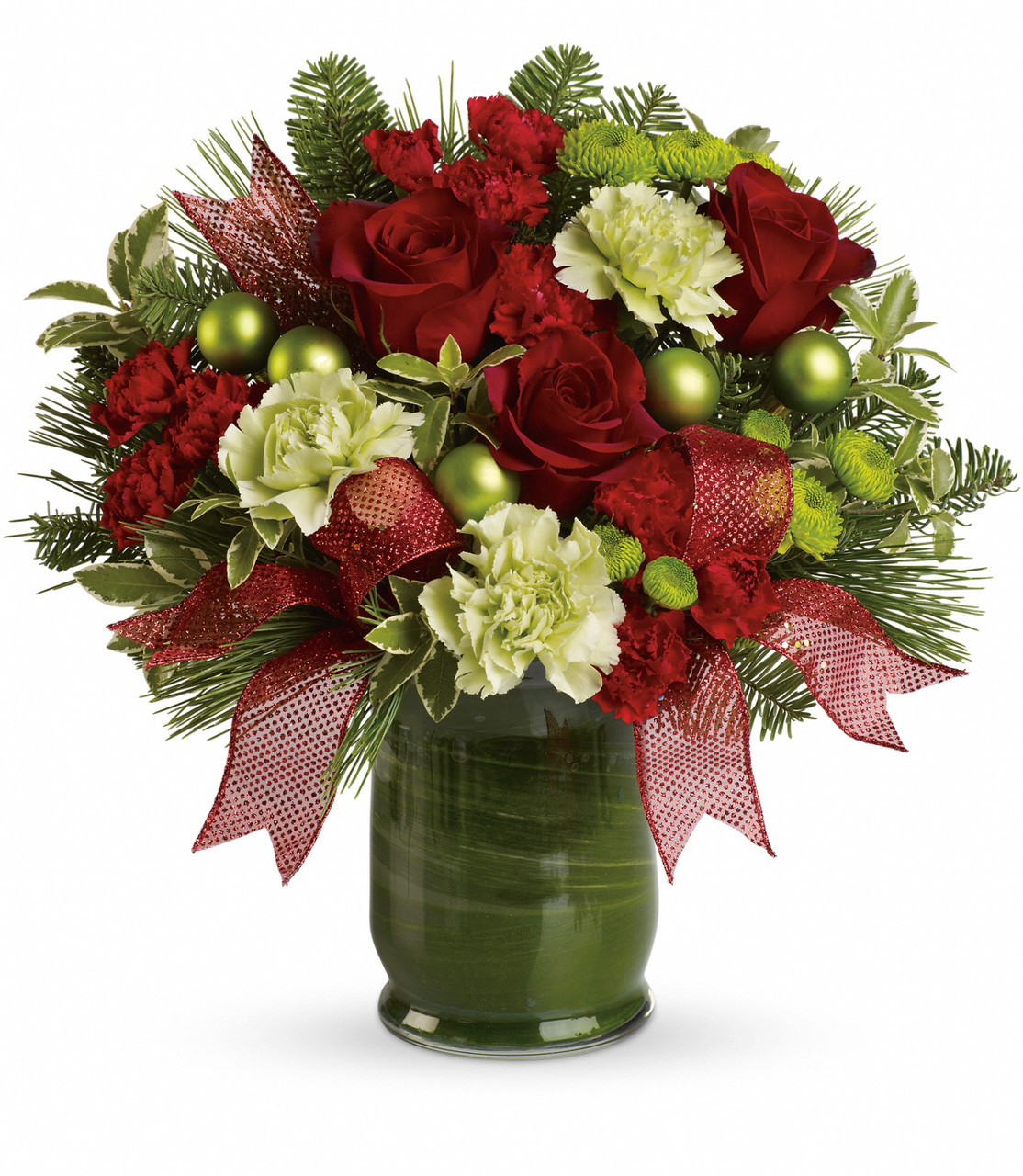 Joy To Behold Green Carnation Red Rose Bouquet