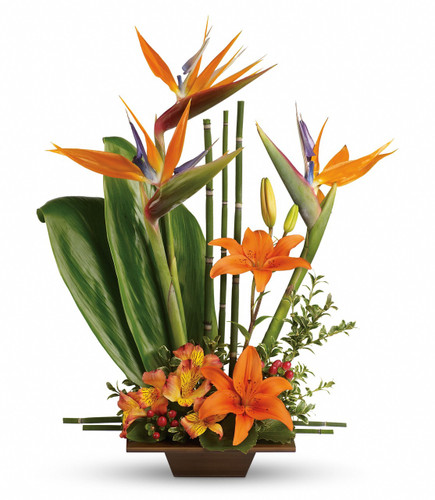 Exotic Grace Tropical Flower Arrangement by Enchanted Florist Pasadena TX. A tropical bouquet that includes bird of paradise, orange lilies, orange alstoremeria and tropical greenery in a bamboo tray. RM166