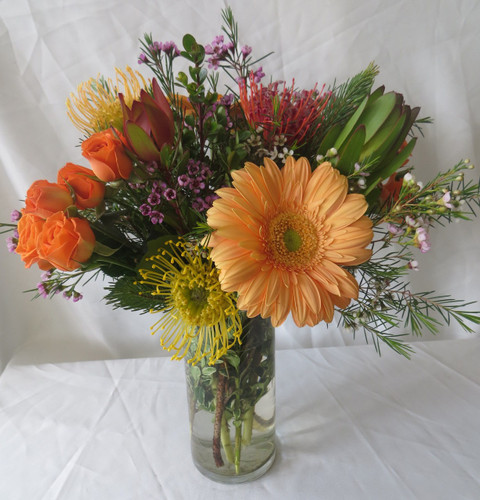 "Peaches and Crème Gerbera Rose Bouquet by Enchanted Florist Pasadena TX is a smaller version of our Wild Nectarine Protea and Gerbera Bouquet.   This bouquet includes tropical flowers called protea, orange gerbera daisies, orange roses and safari sunset and is accented with various foliages. Arrives in a clear cylinder vase. Approximately 16""W x 14""W  For local delivery only. SKU RM157   Hand delivered today by a real florist in Houston TX, Deer Park TX, Webster TX and surrounding areas."