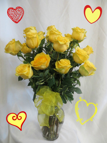 Two dozen roses for Valentines Day in Yellow by Enchanted Florist. We deliver beautiful fresh flowers in Pasadena, Houston, Deer Park, La Porte, Clear Lake, Friendswood, Pearland, League City, Galena Park, Channelview and more. Order your show stopping bouquet of two dozen yellow roses online today. RM912