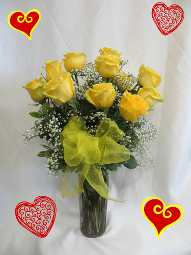 Yellow Dozen Roses for Valentines Day by Enchanted Florist Pasadena TX - because not everyone likes red roses. Our premium Ecuadorian yellow roses come expertly arranged in a vase with baby's breath and a bow. RM915