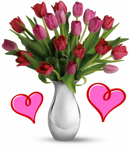 My Two Lips Tulip Bouquet for Valentines Day by Enchanted Florist Pasadena TX. Pink and red tulips in a silver vase will light up her day. A romantic gesture she will surely love. Send tulips for Valentines Day this year and give your Valentine something she will cherish forever. RM942