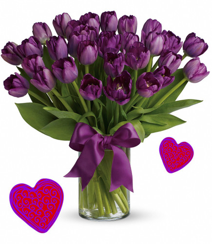 """30 Purple Tulips for Valentines Day by Enchanted Florist Pasadena TX.  Our thirty purple tulips are long lasting and a beautiful non traditional option for Valentines Day for when your special someone wants you to think outside the box.  RM944      Approx 16""""W x 17""""H"""