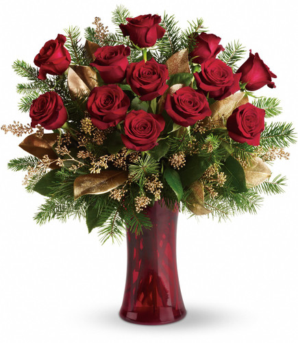 """A Christmas Dozen Red Roses from Enchanted Florist Pasadena TX. Twelve beautiful rose blossoms mix with salal, eucalyptus and golden fir branches in a radiantly red glass vase. Approximately 22"""" W x 24"""" H   SKU RM266"""