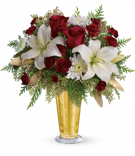 Golden Gifts Christmas Flowers from Enchanted Florist Pasadena TX. A classic beauty. Red roses and white asiatic lilies are arranged in our festive gold mercury glass julep. TWR01-1