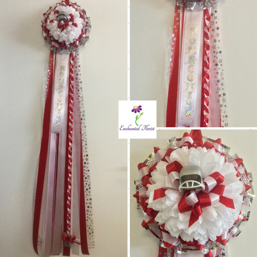 The South Houston High School Homecoming Mum from Enchanted Florist can be designed in any color for any school. It includes a single mum flower, trinkets, a chain, and a spiral braid as shown.