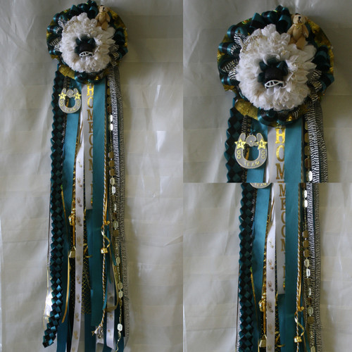 The Homecoming Mum with Bear from Enchanted Florist can be designed in any color for any school. It includes a single mum flower, trinkets, a chain, bear, and a braid as shown. Two names and a bell are also included in the price. HMC127