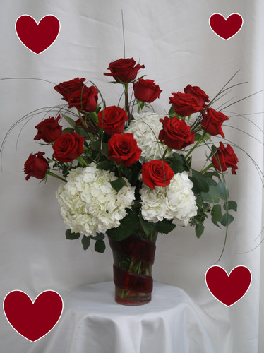 """Daydreams Red Roses and White Hydrangeas for Valentines Day by Enchanted Florist TX. Our two most popular flower requests teamed up together to make this stunning and romantic display of love and affection for your Valentine. The red roses are designed in an abstract heart shape with the stargazer lilies tucked into each side and accented with seeded eucalyptus. Size is approximately 19""""H x 13""""W   RM964"""